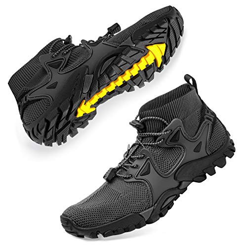 SOBASO Women Hiking Shoes Trail Running Shoes Lightweight Fitness Sport Shoes for Gym Tennis Cross Trainer Hiking Shoes Trail Running Hiking Driving Driving Yoga Grey Black