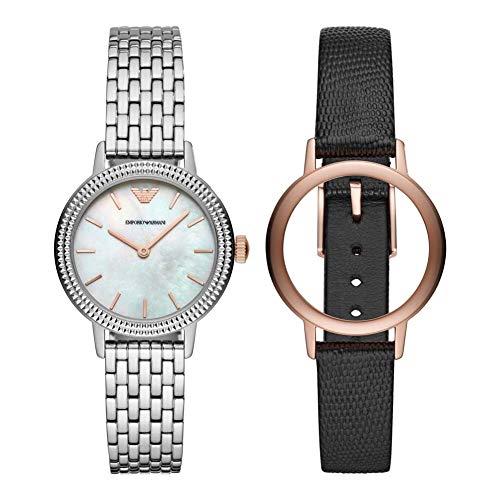 Emporio Armani Damen Analog Quarz Uhr mit Edelstahl Armband AR80020