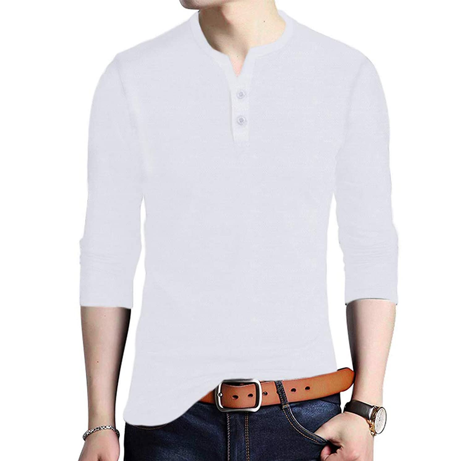JXEWW Henley Mens Tshirts Polo Cotton Long Sleeves Slim Fit V Neck Button Tops Tees