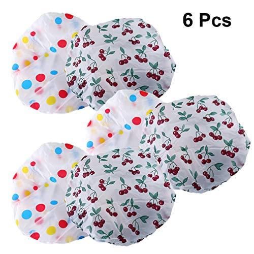 EXCEART 6 Pcs Bonnets de Douche Étanche Double Couche Douche Bonnet de Bain Chapeau Sommeil Bonnet pour Femmes Enfants Couleur Aléatoire