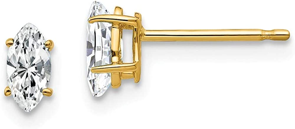 Solid 14k Yellow Gold 5x2.5mm Marquise Cubic Zirconia CZ Studs Earrings - 5mm x 3mm