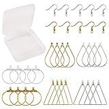 SUNNYCLUE 1 Box Tropfenförmige runde Dreieck-Creolen mit 60 Ohrringhaken für Schmuckherstellung,...