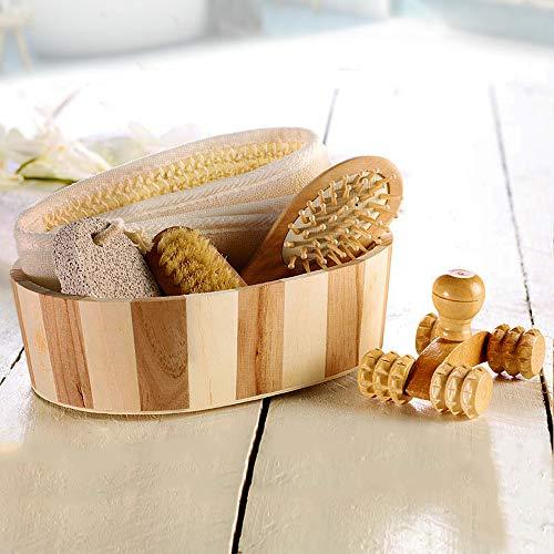 Monsterzeug Badeset Natur, Wellness Verwöhn Kit aus Holz, Deko 6-teilig, Sauna Geschenkset - 20,6 x 15,3 x 6 cm