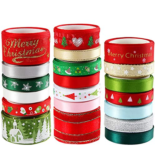 20 Pieces 3 Size Christmas Ribbons for Craft Holiday Printed Grosgrain Organza Satin Ribbons Metallic Glitter Fabric Ribbons Bulk Gift Wrapping Bow(20x2yd)