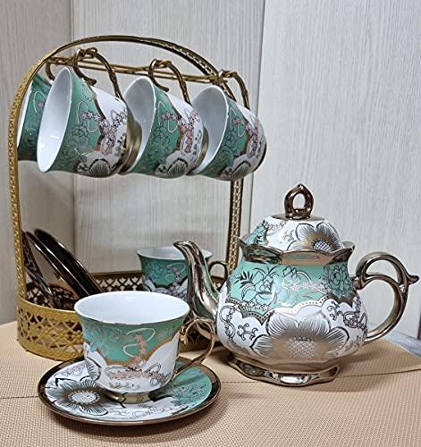 Juego de te completo de ceramica tetera con filtro y tapa 6 tazas con plato de ceramica. cafetera de ceramica y base de metal