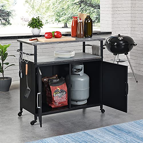 FirsTime & Co. Black Davidson Indoor Outdoor Grilling Kitchen Cart, Metal, 34.25 x 15 x 31.5 inches