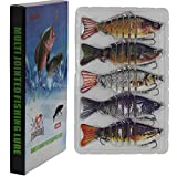 Modenpeak Fishing Lures for Bass 4' Multi Jointed Swimbaits Slow Sinking 7 Segment Hard Lure Fishing Tackle Kits Lifelike 5ps