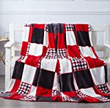 Tache Home Fashion Tache Holiday Red Super Soft Fleece Plaid Patchwork Throw Bed Blanket, 50x60 Inches (4025)