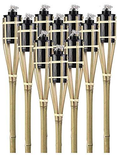 12 Gartenfackeln Fackeln 90 cm Naturfarbe Bambus Umweltfreundlich   Lange Brenndauer - Nachfüllbar   Bambusfackel Ölfackel für Garten / Terrasse