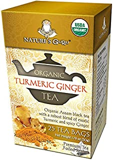 Nature's Guru Organic Whole Leaf Black Tea Turmeric Ginger 25 Count Individual Tea Bags