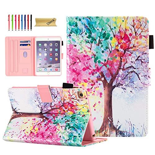 iPad Mini Case, iPad Mini 4 Case, iPad Mini 5 Case 2019, Dteck Cute Cover for iPad Mini, Flip PU Leather Stand Case with Soft Silicone Back Case for iPad Mini 2/Mini 3/Mini 4/Mini 5, Colorful Tree