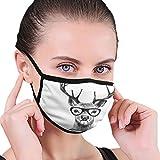 Ciervo con gafas, hombres y mujeres, niños, ajustable, para interiores y exteriores, bufandas de media cara, reutilizable, transpirable, protector de nariz