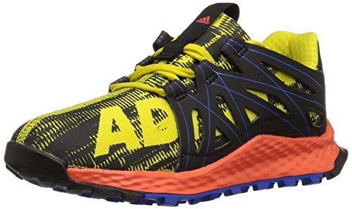 adidas Originals Boys' Vigor Bounce Trail Runner, Bright Yellow/Black/Satellite, 4.5 M US Big Kid