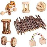 XIAOXIAO 7 juguetes para masticar mascotas pequeñas, mancuernas de madera natural, ejercicio con mancuernas, cuidado de los dientes, juguete molar para hámster, cobaya, chinchilla conejos