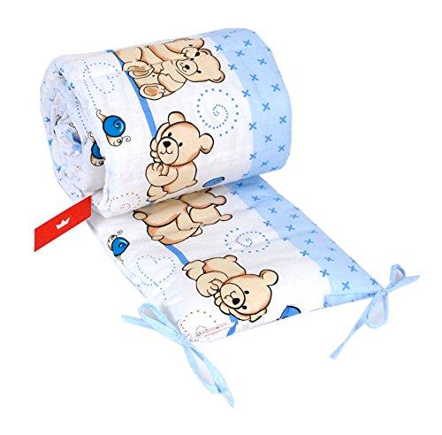 BABYLUX NESTCHEN 210 x 30 cm Nest Bettumrandung mit Kopfschutz (63. Teddybären Blau)