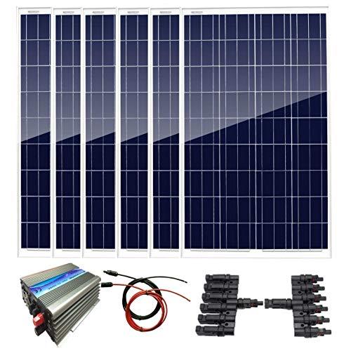 AUECOOR - Kit de sistema solar de 600 W, 6 paneles solares policristalinos de 100 W + 1000 W inversor de amarre de rejilla para casa