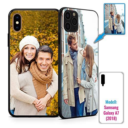 PixiPrints Foto-Handyhülle mit eigenem Bild kompatibel mit Samsung Galaxy A7 (2018), Hülle: TPU-Silikon in Schwarz, personalisiertes Premium-Case selbst gestalten mit flexiblem Druck