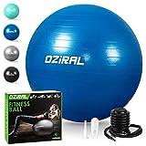 Oziral Pelota de Pilates 55cm,Anti-Burst Fitball Pilates Pelota para Yoga, Ejercicios, Gimnasia, Fitness, Equilibrio, incluidos Bomba y Manual de Usuario-Azul