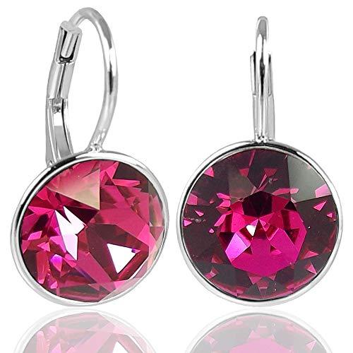 NOBEL SCHMUCK Silber-Ohrringe Pink mit Kristallen von Swarovski® 925 Silver