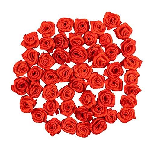Ideen mit Herz Satinrosen | 50 Stück | Ø 1,5 cm | Deko-Rosen, Mini-Stoffrosen, kleine Rosenköpfe zum Basteln, Aufnähen, Dekorieren | Blumen-Applikationen, Tischdeko, Streudeko, Hochzeit (rot)