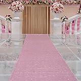 TRLYC 4ftx16ft Sequin Floor Aisles Runner for Wedding-Rose Pink