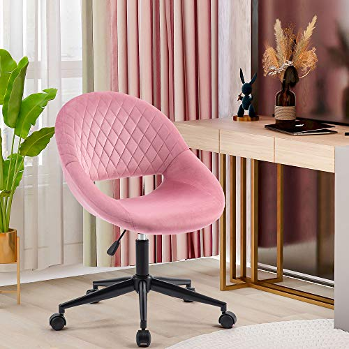 ModernLuxe Pink Velvet Office Chair Armless Ergonomic Computer Task Desk Chair Without Arms Fabric Swivel Chair Home Office Bedroom Height Adjustable