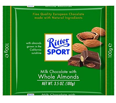 Ritter Sport Milk Chocolate with Whole Almonds Bar, 3.5 Ounce (Pack of 11).