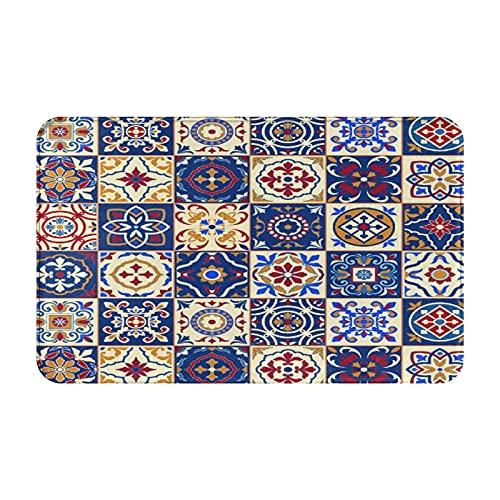 MJIAX Alfombras de baño, alfombras de baño,Marroquí, Portugués Azulejo Cuadrados Cuadrados Patrón, Alfombras de Felpa Alfombras Felpudo Suave y Duradero Alfombras decoración Antideslizante