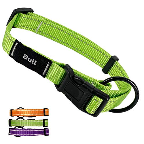 AVANZONA Collar para Perros Nylon Ajustable Reflectante, Suave Resistente, Sistema Seguridad, Perros pequeños medianos y Grandes. M. Verde.