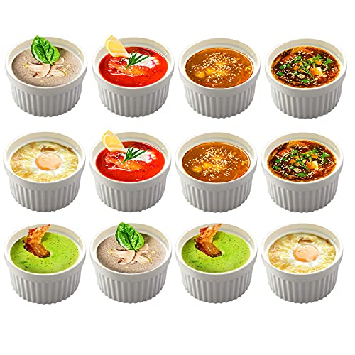 BPFY 12 Pack 8oz White Porcelain Ramekins Bakeware, Ceramic Souffle Dishes, Baking Cups for Custard, Pudding, Creme Brulee, French Onion Soup Bowls