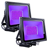 SHPODA 2 Pack 60W LED Black Light,Outdoor Flood Light,with Plug and Switch(5ft Cable,),IP66 Waterproof,for Blacklight Party,Halloween,Body Paint,Fluorescent Poster,Birthday Party