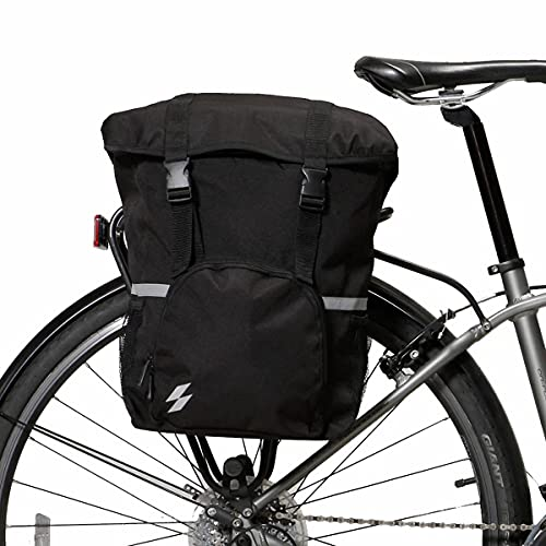 GELEI 15L Bike Pannier Bag Bicycle Saddle Bag with Reflective Stripes & Strong Velcro Pannier Rear Rack for Commuter Outdoor Traveling