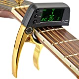 Dreokee Guitar Capo Tuner, Bass Acoustic Electric Mini Guitar Clip on-Accurate Chromatic Professional Change Key for Mandolin, Violin, Ukulele, Banjo (Golden)