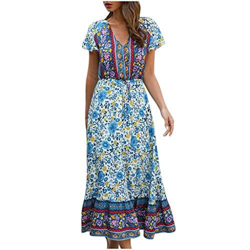 Vestido para mujer, vestido largo de manga corta con cuello en V y estampado floral de playa, para vacaciones