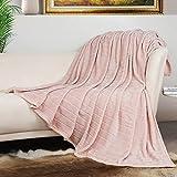 Bertte 330 GSM Lightweight Fluffy Cozy Luxury Decorative Stripe Bed Couch Plush Throw Super Soft Fuzzy Warm Blanket, Queen(90'x 90'), Pink