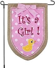 New Baby Banner Its A Girl Garden Flag, Yard Sign, Car Decoration - Pink Duck Design On Burlap Banner - 12x18 - Home Garden Flag