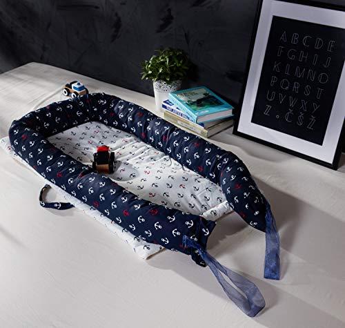 TEALP Kuschelnest Babynest Multifunktionales Nest für Babys Säuglinge Reisebett, 100% Baumwolle, Marineblau-Anker des Seethemas (0-24 Monate) - 5