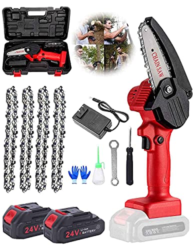 Mini Chainsaw, Mini Chainsaw Cordless 4-Inch 24V Battery Power Chainsaw with 2 Batteries 4 Chain One-Hand Electric Chainsaw for Garden Courtyard Tree And Urban Greening,Red