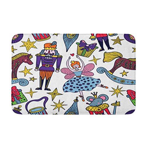 AoLismini Badematte Weihnachten Nussknacker Muster kann für Füllungen verwendet Werden Surf Textsnutcracker Menü Gemütliches Badezimmer Dekor Badteppich mit Rutschfester Rückseite