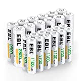 EBL 24 Sets AA AAA Batteries Combo with 12-Pack AA 2800mAh & 12-Pack AAA 1100mAh Rechargeable Batteries