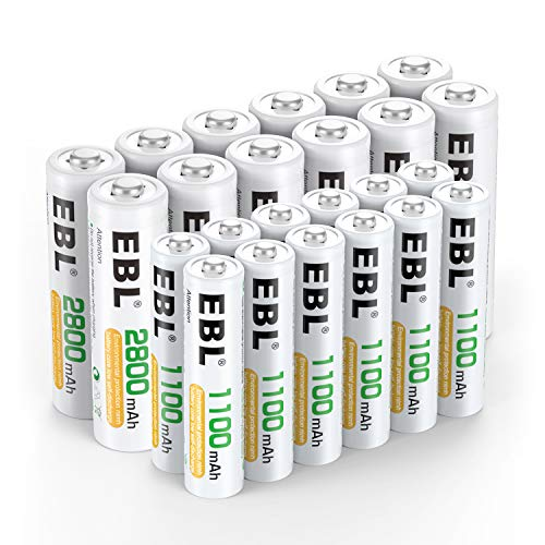EBL 24 Sets AA AAA Batteries Combo with 12-Pack AA 2800mAh & 12-Pack AAA 1100mAh 1.2V Rechargeable Batteries