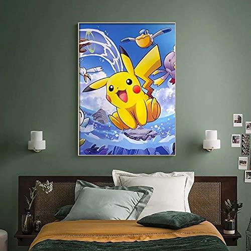 Poster sur toile avec dessin animé Pokémon Pikachu Bulbasaur - Décoration murale moderne pour chambre d'enfant - 30 x 40 cm - Sans cadre