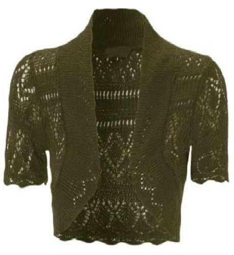 My Fashion Store Women Ladies Bolero Crochet Knitted Shrug Short Cap Sleeve UK Size 8-26 Dark Green