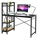 Tangkula 47.5' Computer Desk, Modern Style Writing Study Table with 4 Tier Bookshelves, Home Office Desk, Compact Gaming Desk, Multipurpose PC Workstation(Brown)