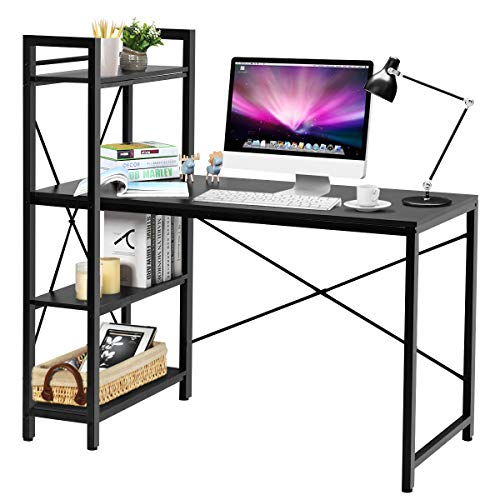 """Tangkula Computer Desk with 4 Tier Shelves, Study Writing Table with Storage Bookshelves, Modern Compact Home Office Workstation, 47.5"""" Tower Desk with Steel Frame & Adjustable Feet Pad, Black"""