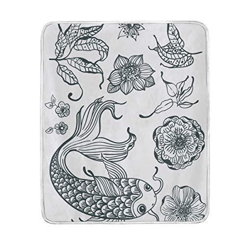 Ahomy Dreamscene Couverture Couvre-lit, Noir et Blanc Koi Fish Lotus Feuilles Japan Style Couverture Super Doux, 127 x 152 cm, Lavable en Machine, Convient pour lit Chaise ou canapé
