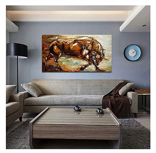 Abstrakte Starke Stier Ölgemälde Handgemalte Wandkunst Bild Raumdekoration Handgemachte Malerei Home Kunstwerk 40X50 Cm