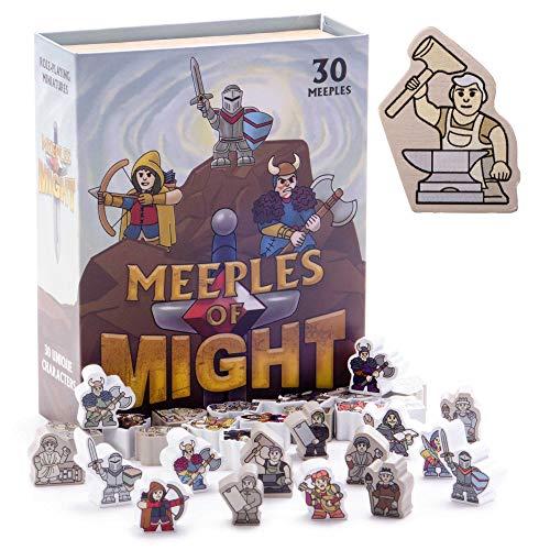 Meeples of Might - 30 minis coloridos y heroicos de 16 mm, accesorios en miniatura de madera para juegos de rol de mesa, juego de rol y estrategia táctica, juego de mesa a granel