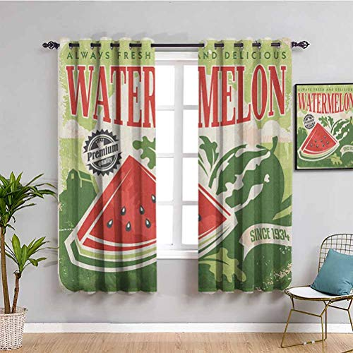 SONGDAYONE Vintage Shading Insulated Curtain, Curtains 63 inch length Vintage Old Fashioned Funny Watermelon with Faded Colors Classic Graphic Art Privacy protection Green Red Ecru W55 x L63 Inch