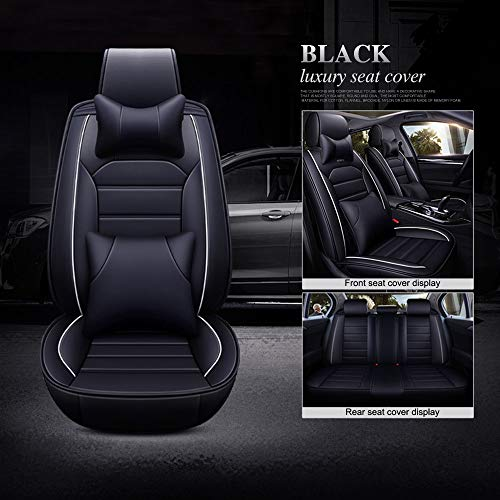 Full Set Car Seat Cover, High Grade Leather Full Surround, Durable Comfortable Wear-Resistant Waterproof Easy to Clean,4 Seasons Universal,Fit for 5 Seats Cars/SUV/Truck/Vans (Black)
